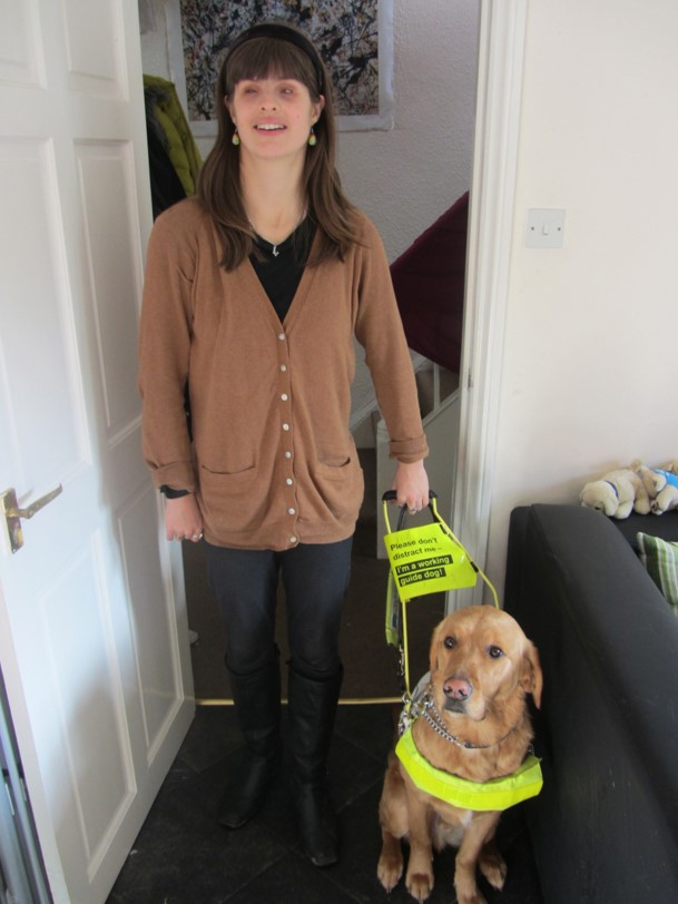 Image shows a MACS member with their guide dog