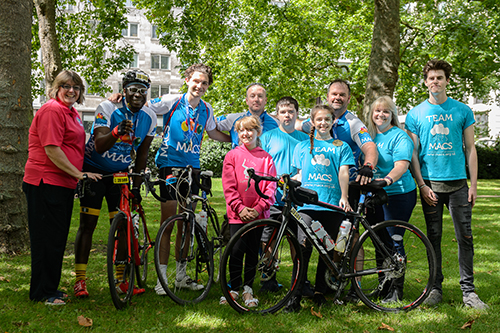 Image shows MACS members with cyclists
